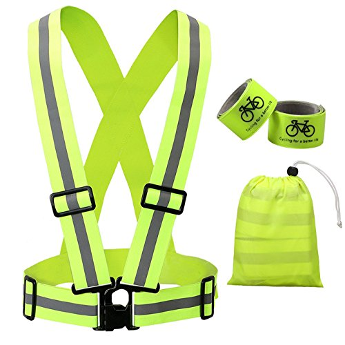 Reflective Vest Cycling Gear with Safety Reflector Strips Bands for Arm/Wrist / Ankle | Lightweight, Adjustable & Elastic | Safety & High Visibility for Running, Jogging, Walking by Living&Giving
