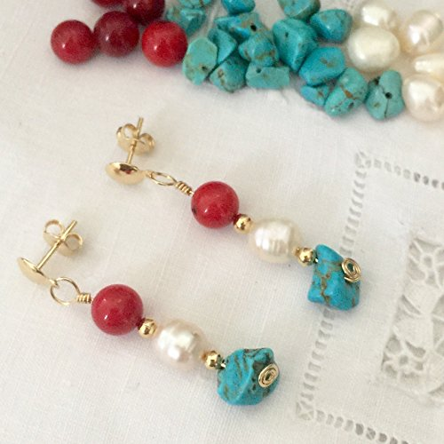 Earrings Turquoise Coral and Pearls. Drop Earrings. Dangle Earrings on 14Kt gold filled posts. - Gold Turquoise Coral