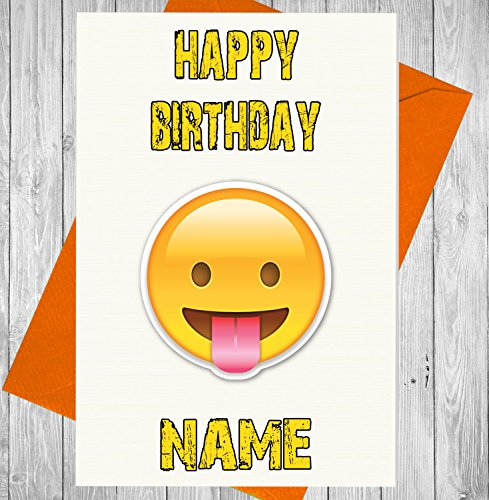 Akgifts Personalised Emoji Tongue Out Birthday Card   Any Name And Age Printed On The Front  7   10 Business Days Delivery From Uk