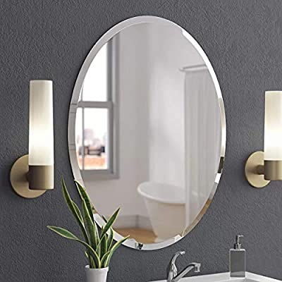 """KOHROS Oval Beveled Polished Frameless Wall Mirror for Bathroom, Vanity, Bedroom (20"""" W x 28"""" H Oval) - this wall mirror brings a feel of minimalism to any space as it offers a clear look at your reflection. Mount it in the bath or powder room for a convenient spot to fix hair and apply makeup, or set it in the entryway as a last-minute checkpoint before you head out the door. No matter where it lives, this mirror's silver finish and frameless silhouette add ultramodern appeal to your abode. Better yet, it hangs both vertically and horizontally to suit your Simple yet sophisticated, this frameless wall mirror ups the ante of your favorite aesthetic. Defined by its beveled design and rectangular silhouette, this sleek and glass design anchors any wall in eye-catching style. Add this wall mirror to your master suite powder room to complement a clean and cohesive arrangement, then use it to give yourself one last look before heading out on a night on the town. Whether your look is uptown loft or breezy coastal, this versatile design ups the ante Able to open up a room, let the bright light bounce around, and add style to your space, mirrors are must-haves for any home. Take this one for example: with its elegant beveled edging and graceful scalloped corners, this mirror makes a statement without needing any frame. this mirror comes with hooks to help you mount it on the wall. - bathroom-mirrors, bathroom-accessories, bathroom - 51u6l IFGQL. SS400  -"""