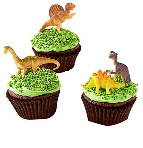 Mini Dinosaurs Toys Cupcake Toppers, Dinosaur Cake Decoration Figures For Dinosaur Theme Parties -