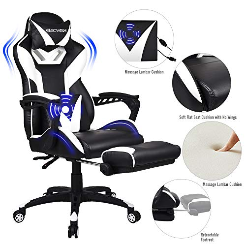 FULLWATT Lumber Massage Gaming Chair with Footrest Ergonomic High Back Pu Leather Bucket Seat,Racing Gamer Chair Video Game Chairs 150 Degree Adjustable Swivel Executive Computer Gaming Chairs (White)