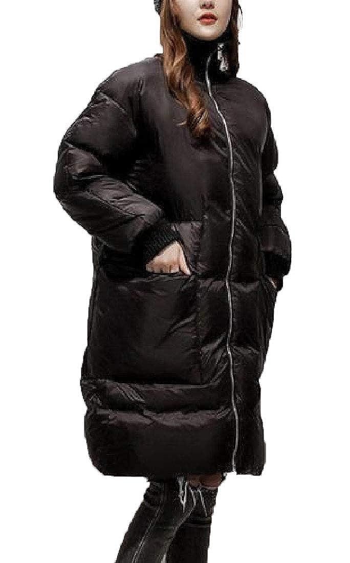 Black omniscient Women's Peter Pan Collar Outwear Thicken Stand Maxi Down Jacket Jackets