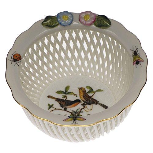 Herend Baskets - Herend Rothschild Bird Open Weave Basket