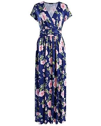 OUGES Women's V-Neck Pattern Pocket Maxi Long Dress(Floral-03,S)