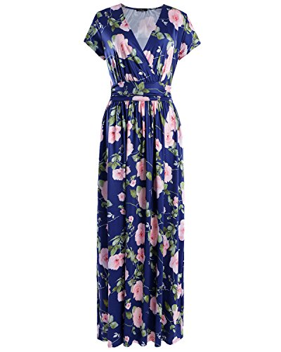 OUGES Women's V-Neck Pattern Pocket Maxi Long Dress(Floral-03,XXL)