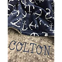 Personalized Baby Blanket Navy anchor baby Blanket, Nautical baby blanket, Ocean blanket, Anchor Blanket, Baby Shower Gift, Nursery Crib