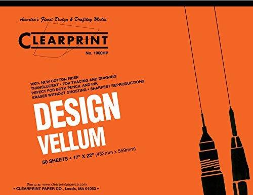 Clearprint 1000H Design Vellum Pad, 16 lb., 100% Cotton, 17 x 22 Inches, 50 Sheets, Translucent White, 1 Each ()