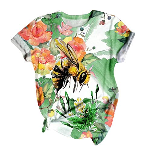 Women's Graphic T-Shirt Novelty Funny 3D Bee Animal Print Top Cute Painted Pattern Tops Summer Casual Loose Short Sleeve…