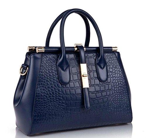 à les filles sac tout Crocodile main pour pour sac à sac cuir en les sac sacs Grande gaufré fourre élégant un capacité femmes bandoulière à bandoulière poignée main usage Convient Bleu pour quotidien Fq147PT