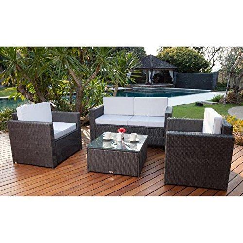 BALI-Juego de mesa y sillas de jardín resina trenzada, color gris ...