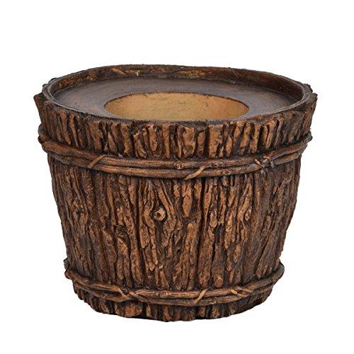 MinxNY VHX217 Wood Trunk Planter Fiberstone, 16