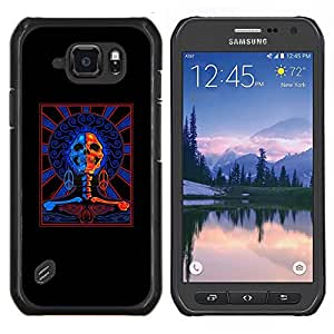 LECELL--Funda protectora / Cubierta / Piel For Samsung Galaxy S6Active Active G890A -- Muerte Azul Red Rock Roll Music motorista --