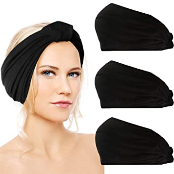 Amazon.com   Sunland Womens Headbands Cotton Elastic Head Wrap Stretchy  Moisture Yoga Hairband Scarf Twisted Cute Workout Hair Accessories 3 Pack  Black   ... d021a6f36da