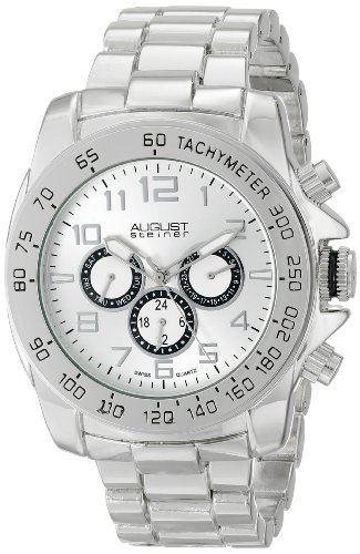 Cream Dial Bracelet Watch (August Steiner Men's AS8095SS Swiss Quartz Multifunction Silver-tone Dial Silver-tone Bracelet Watch)