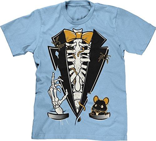 Blittzen Mens Halloween Skeleton Ribcage Rat Tuxedo, L, Light Blue