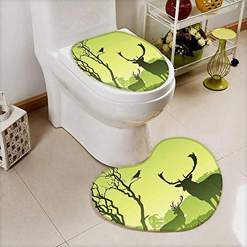 (L-QN 2 Piece Toilet Toilet mat Male Deer On A Meadow Trees Crow Bird Woodland Mist Rural Absorbent Cover)