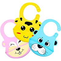 Redlemon Baberos para Bebé de Silicón Suave Impermeable (Pack de 3), con Compartimento Antiderrames, Fáciles de Limpiar y Libres de BPA, Resistentes y Duraderos