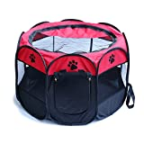 HENREK Pet Dog Cat Playpen Cage Crate - Portable Folding Exercise Kennel - Indoor & Outdoor Use (L(35