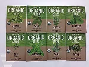 Organic, Heirloom, Non-GMO, Herb Garden Seeds – 8 Variety Kitchen Herbal Gardening Assortment - Arugula, Basil, Chives, Cilantro, Dill, Oregano, Sage, Thyme