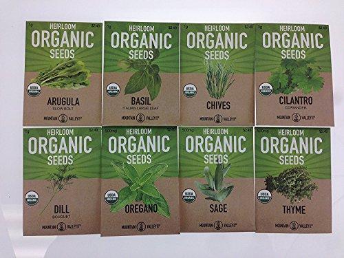 Organic, Heirloom, Non-GMO, Herb Garden Seeds – 8 Variety Kitchen Herbal Gardening Assortment - Arugula, Basil, Chives, Cilantro, Dill, Oregano, Sage, Thyme Sage Garden Herbs