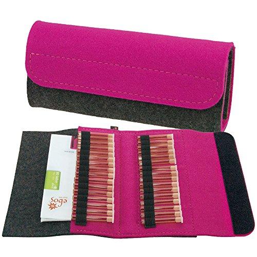 ebos homöopathische Taschenapotheke, Reiseapotheke, Globulitasche aus echtem Wollfilz, grau/pink mit 32 Schlaufen