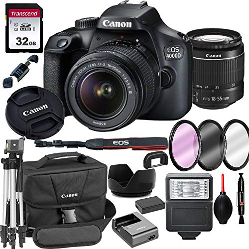 Canon 4000D EOS DSLR Camera with 18-55mm f/3.5-5.6 Zoom Lens + 32GB Card, Tripod, Flash, and More (18pc Bundle)