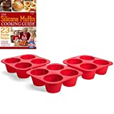 silicon cup cake pan - Silicone Extra Large 4 Cup Texas Muffin Pans and Cupcake Maker Molds - Set of 3 With Cooking EBook