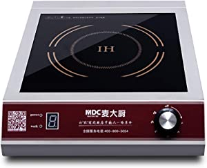 MDC 3500W / 5000W Induction Cooktop 220V Commercial Induction Cookware Stove Stainless Steel Electric Countertop Burner Hot Plate with Digital Display Panel (3500W Rotary Switch)
