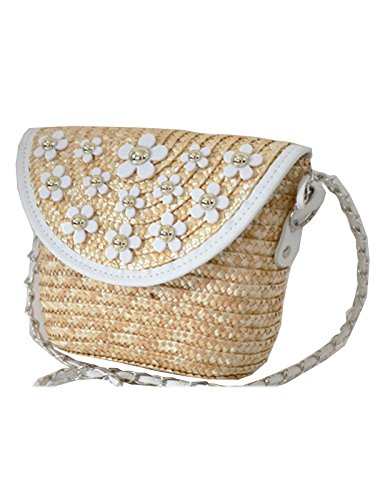 (Sulida Summer Lady Small Chain Quilted Straw Shoulder Cross Body Bag)