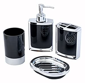 4 Piece Vogue Black And Chrome Jewelry Bathroom Shower Accessory Set With Lotion