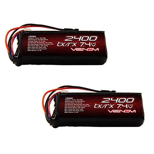 Venom 5C 2S 2400mAh 7.4 Receiver/Transmitter Flat LiPo Battery x2 Packs