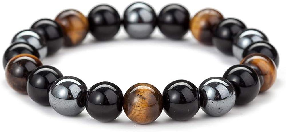 ChicJ&Y 10MM Ojo de Tigre de obsidiana y Perlas magnéticas Mala Pulsera Tibetano Budista Buda Meditación Collar/Pulsera