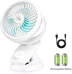 REENUO Mini Fan with Clip 4400mAh Rechargeable Battery Operated USB Desk Portable Personal Fan for Office,Home,Travel,Camping,Baby Stroller(White)