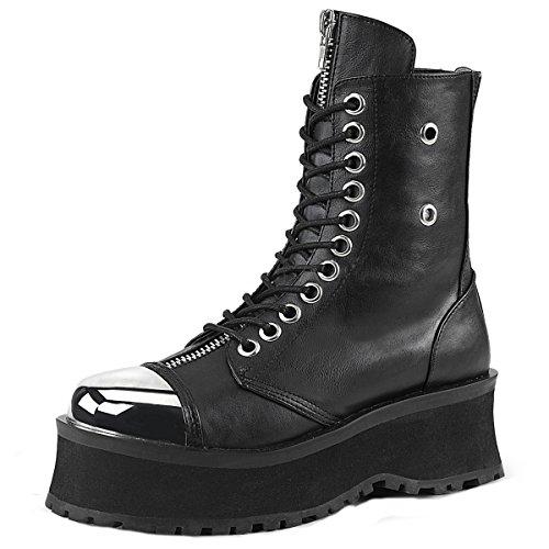 Higher Heels Demonia Herren Lace-Up Boots Schnür Stiefel Gravedigger-10 Kunstleder Schwarz Schwarz