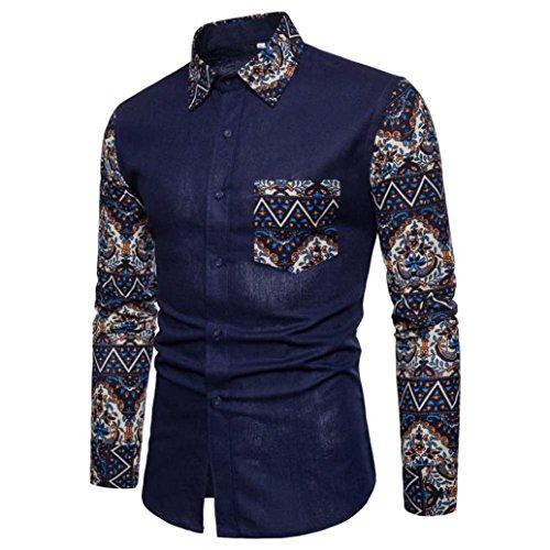 YOcheerful Mens Casual Long Sleeve Shirt Loose Business Shirt Blouse Top Tees (Navy,XL)