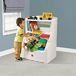 Step2 Lift and Hide Bookcase Storage Chest for Kids - Durable Plastic Toy Box Bookshelf Organizer, White/Red
