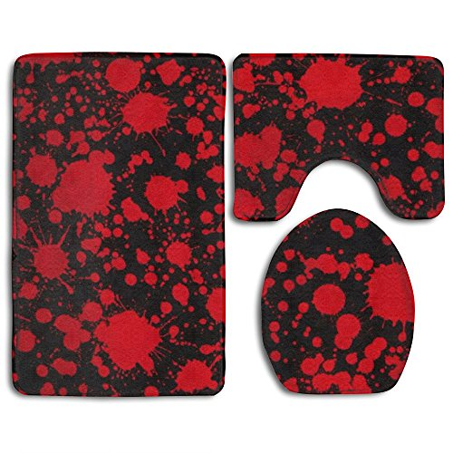 Classic Horror Blood Splatter Black 3-Piece Soft Bath Rug Set Includes Bathroom Mat Contour Rug Lid Toilet Cover Home Decorative Doormat ()