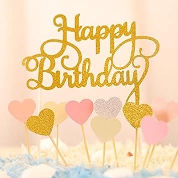 Happy Birthday Kuchendekoration Cake Toppers Kuchen Deko (Gold+ Rosa ...