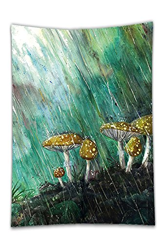 Interestlee Satin drill Tablecloth?Mushroom Watercolor Painting Style Rain Splashing Down on Mushrooms Botanical Fresh Forest Multicolor Dining Room Kitchen Rectangular Table Cover Home Decor (Octagon Table Cloth)
