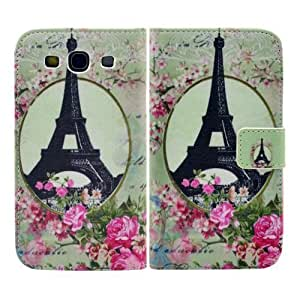 Samsung Galaxy S3 i9300 i9305 LTE PU-LEATHER PARIS FLOWERS Design FLIP stand cover protección-móvil casos Flip bag Cover thematys®