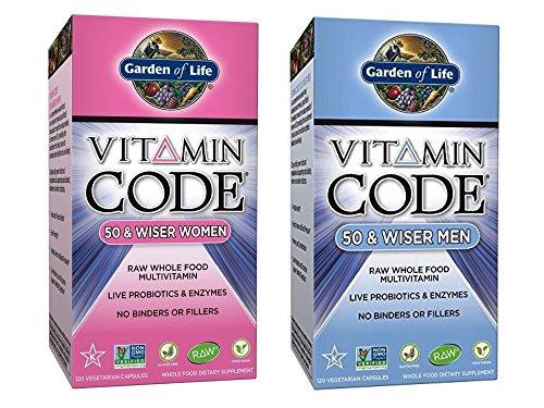Garden of Life Supplement Bundle (2 Items) – Vitamin Code 50 & Wiser Women + Vitamin Code 50 & Wiser Men – 120 capsule size
