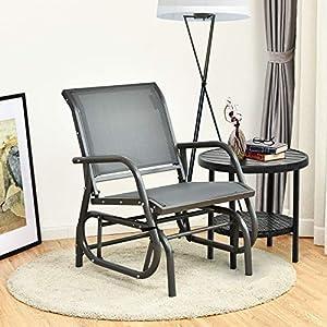 COSTWAYOutdoor Metal Glider Armchair Chair Grey