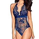 Huaze Fashion Women Sexy Lingerie Backless Lace Babydoll V-Collar Underwear Pajamas (Blue, XL)