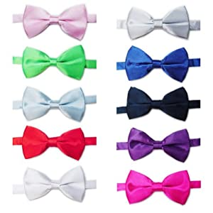 TOPTIE Mens Tuxedo Bow Tie Adjustable Neck Bowtie 10pc Mixed Lot Solid Color SET5