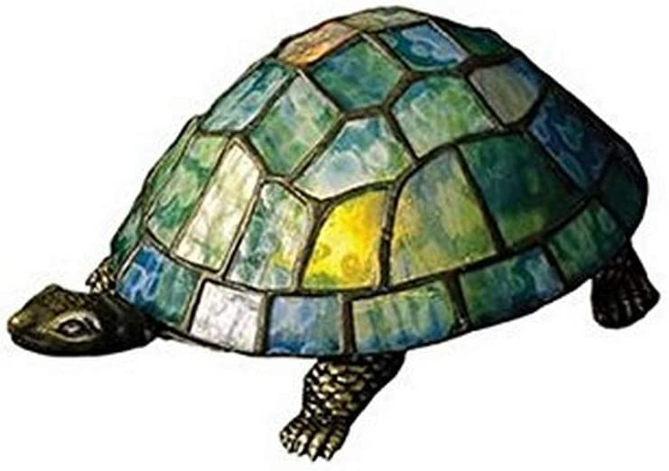 Meyda Tiffany 10270 Turtle Tiffany Glass Accent Lamp, 4 H