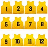 Oso Athletics Set of 12 Premium Mesh Numbered Scrimmage Vest Pinnies Team Practice Jerseys for Children, Youth, and Adult Sports Basketball, Soccer, Football, Volleyball, Lacrosse (Yellow, Child)