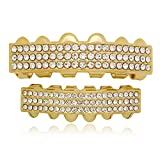 Lureen 14k Gold Silver Iced Out 3 Rows Bar Teeth Grillz Hip Hop Teeth (Gold)
