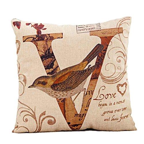 LOVELYIVA NEW fashion Halloween LOVE Bird Square Pillow Cover Cushion Case Pillowcase Zipper Closure (Beige A)