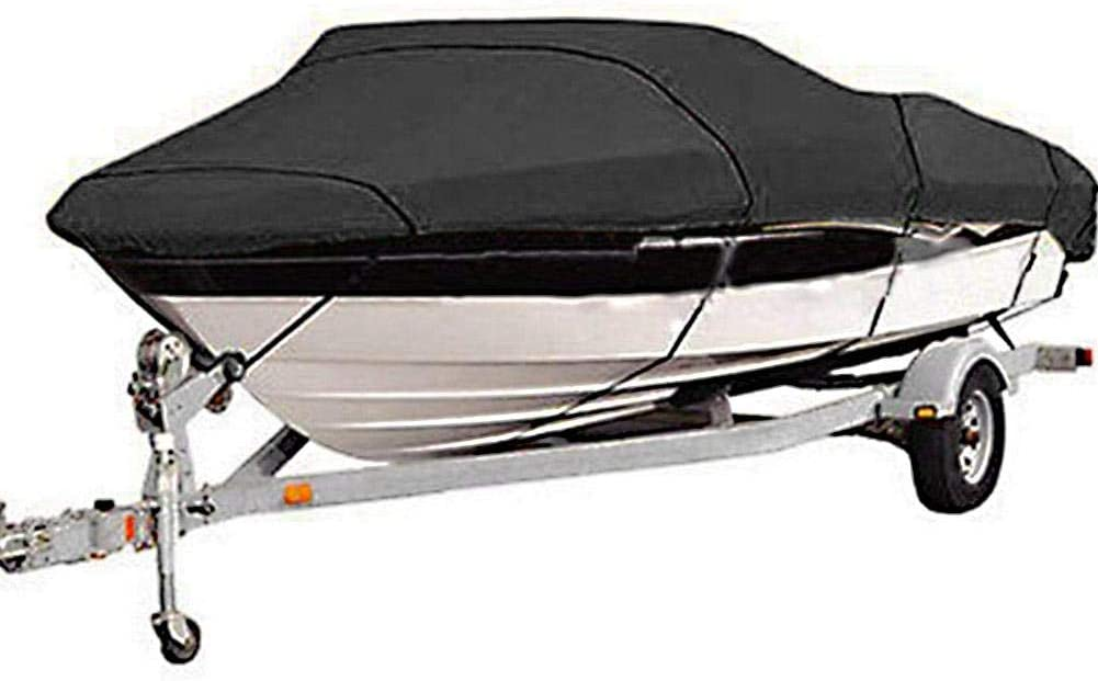 Grey lahomie Waterproof Yacht Cover Heavy Duty 210D Kayak Cover with Storage Bag Silk Polyster Boat Cover V-Hull Speedboat Protection Cover Tri-Hull Runabout Boat Cover